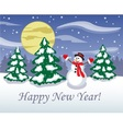 Snowman in the middle of the night forest vector image