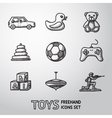 Toys hand drawn icons set with - car duck bear vector image