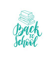 vintage back to school poster with books drawing vector image