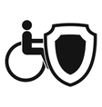 Wheelchair and safety shield icon simple style vector image