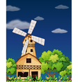 A wooden barnhouse in the middle of the forest vector image vector image