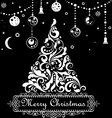 Christmas tree with swirls and floral elements vector image