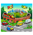 Funny vehicles in the city vector image