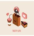 Delicious Food order Dessert Cake Donut Coffee Tea vector image