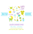 Baby Boy Shower or Arrival Card vector image