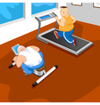 overweight mans in gym vector image