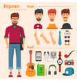 Hipster Boy Character Decorative Icons Set vector image