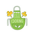 cooking logo design with cute green apron and vector image