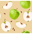 Green apples and apple slices seamless vector image