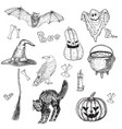 halloween characters and attributes doodle set vector image
