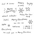 merry christmas and new year hand drawn lettering vector image