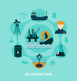offshore oil extraction composition vector image