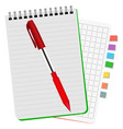 two notebooks with colored bookmarks and red pen vector image