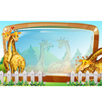Frame template with giraffe in park vector image