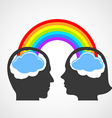 Silhouette of the head of man and woman vector image vector image