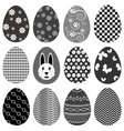 A set of monochrome decorated easter eggs vector image