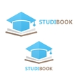 book and student cap logo concept vector image