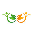 beauty people spa organic leaf logo vector image