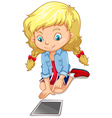 Girl looking at the tablet vector image
