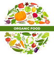 organic food promotional poster with vegetables in vector image