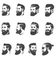 set of the bearded man head isolated on white vector image