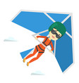 Woman flying on hang-glider vector image
