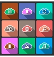Cloud UI layout icons squared shadows vector image