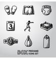 Set of boxing hand drawn icons - gloves shorts vector image