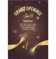 Grand opening banner with golden splashes vector image