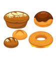 bread flat icons set for bakery shop or patisserie vector image