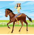 Girl is riding a horse in Western style vector image