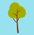 green summer tree with brown stem isolated on blue vector image