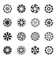 monochrome floral icon set black flowers vector image