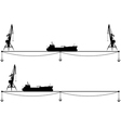 set border with crane and ship vector image