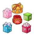 Five different color gift boxes with bows vector image