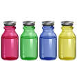 Four clear bottles vector image