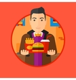 Man with tray full of fast food vector image