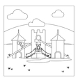Kids on playground coloring book page vector image