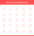 Set of Thin Line Stroke Weather Icons vector image