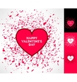 Set of valentines hearts on grunge vector image