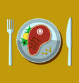 steak on a white plate with fork and knife vector image