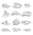 hand drawn ocean waves set sea storm wave vector image
