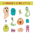 Doodle monsters icons in bright colors vector image