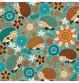 Seamless pattern with hedgehogs and floral vector image