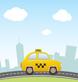 Taxi on city background vector image