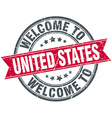 welcome to United States red round vintage stamp vector image