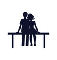 couple in love sit on bench vector image