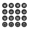 Shopping baskets thin line icons set vector image