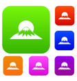 sun and mountain set collection vector image