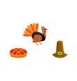 thanksgiving set - turkey pie and pilgrim hat vector image